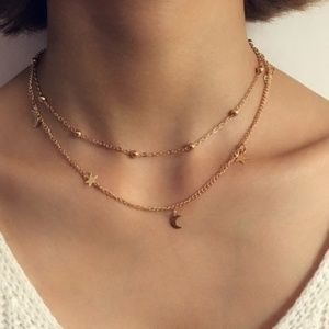 Layered Stars & Moon Necklace [Gold]